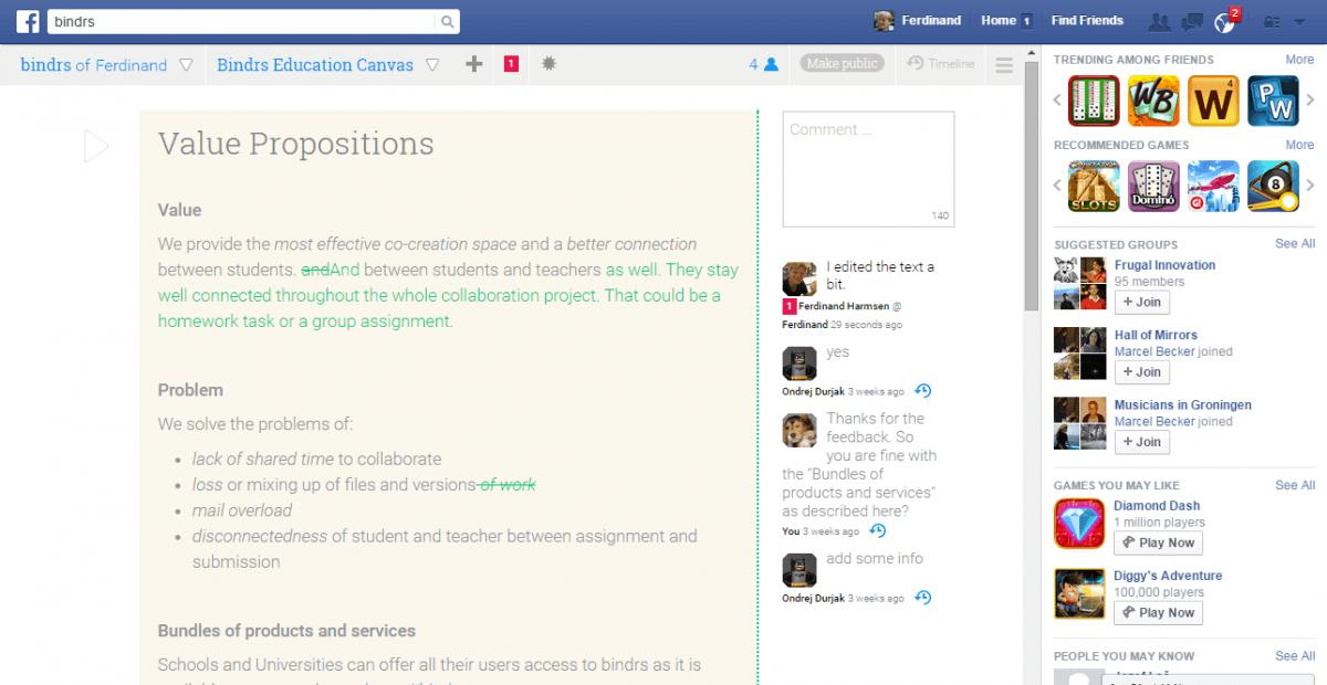 bindrs facebook app